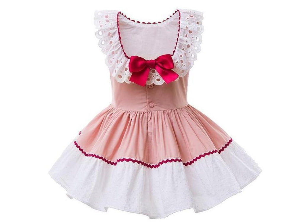 Pink Sleeveless Dress With A Broad Lace Work And A Headband  in Strawbie Collections - girls dress