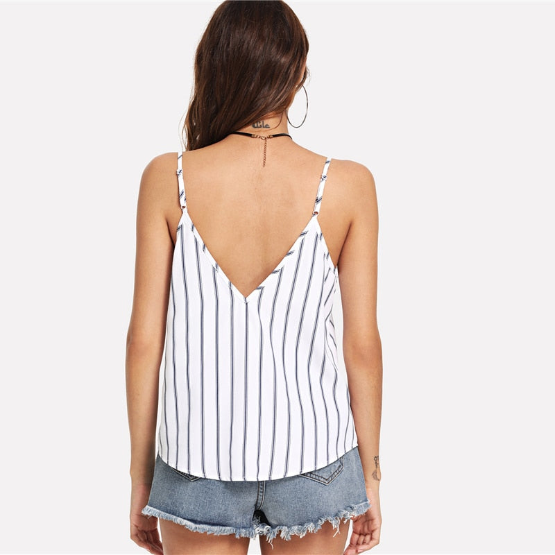 Casual Striped Deep V Neck Cami Top  in Strawbie Collections - Girls Tops