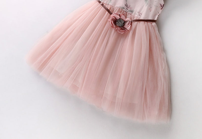 Princess Party Mesh Dress With Flower Belt  in Strawbie Collections - girls dress