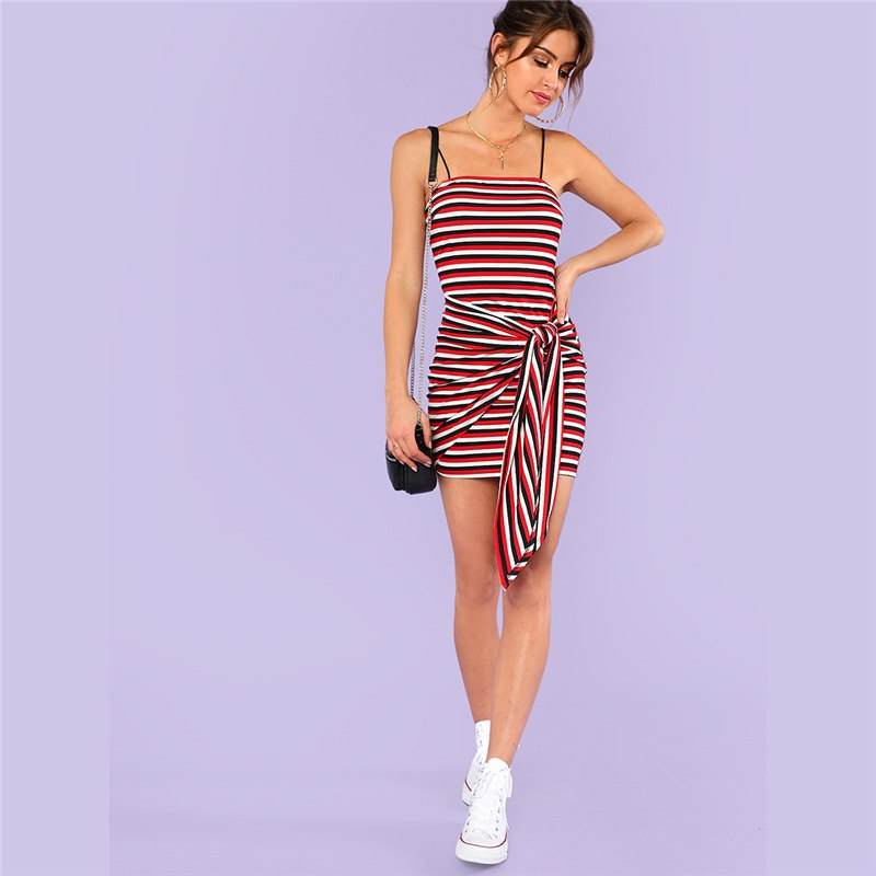 Casual Striped Cami Dress With Spaghetti Strap  in Strawbie Collections - girls dress