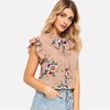 Floral Tied neck Pink Chiffon Blouse  in Strawbie Collections - Girls Tops