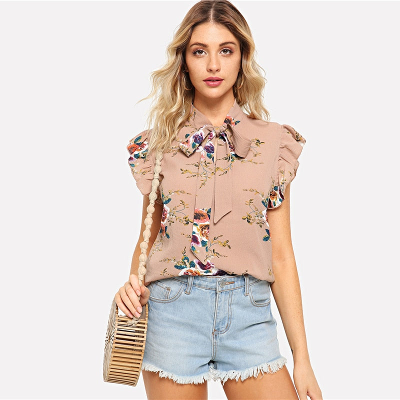 Floral Tied neck Pink Chiffon Blouse - Girls Tops - - Strawbie Collections