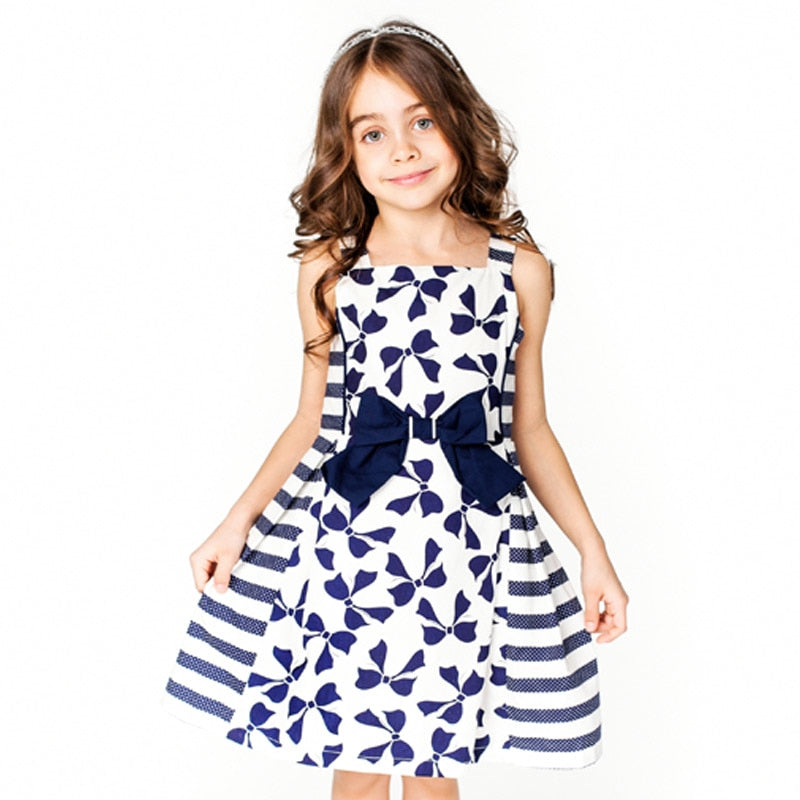 Beautiful Bow Print Sleeveless Princess Dress 1638 / 8 in Strawbie Collections - girls dress