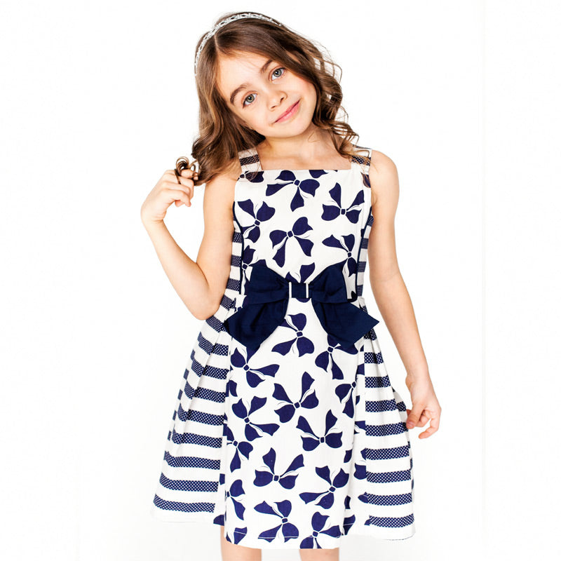 Beautiful Bow Print Sleeveless Princess Dress  in Strawbie Collections - girls dress