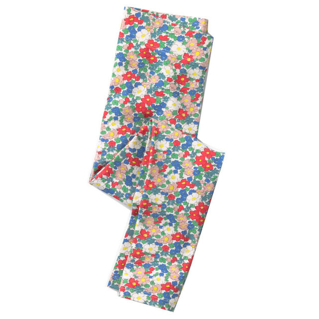 Printed Cotton Girls Leggings 89 / 7 in Strawbie Collections - Girls Bottoms