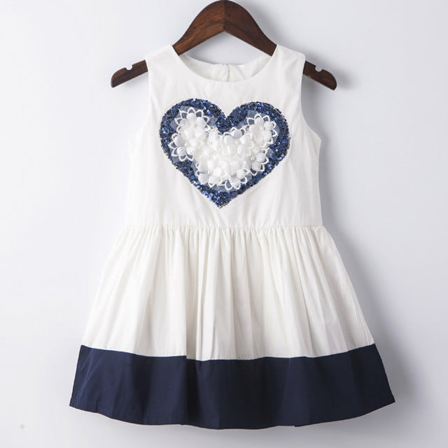 White And Blue Ball Gown Sleeveless Dress With Flower Applique White / 8 in Strawbie Collections - girls dress
