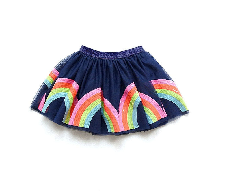 Sequined Rainbow Party Tutu Skirts Blue / 7 in Strawbie Collections - girls skirts