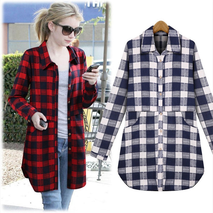 Plaid Cotton Long Blouse With Pockets - Girls Tops - - Strawbie Collections