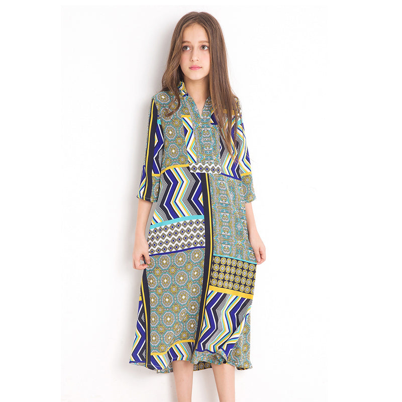 Geometric Patterned Comfy Long Dress  in Strawbie Collections - girls dress