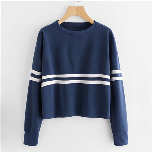 Navy Crop Top With Stripes Blue / XL in Strawbie Collections - Girls Tops