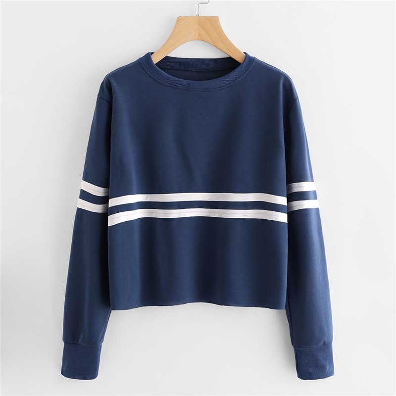Navy Crop Top With Stripes  in Strawbie Collections - Girls Tops
