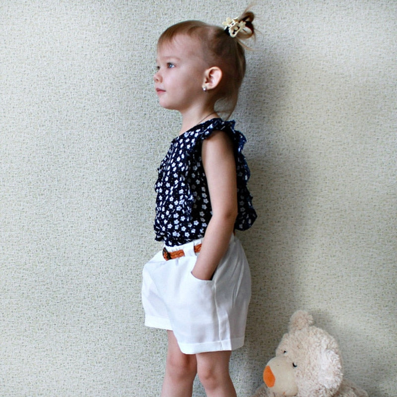 Comfy Casual Tee And Cotton Shorts With Belt  in Strawbie Collections - girls dress set