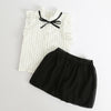White Cotton Stripe Shirt With Black Skirt  in Strawbie Collections - girls dress set