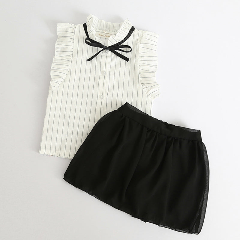 White Cotton Stripe Shirt With Black Skirt - girls dress set - - Strawbie Collections