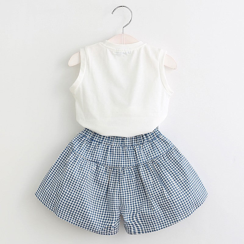 Cute Girl Print Sleeveless Tops And Loose Cotton Shorts Sets  in Strawbie Collections - girls dress set