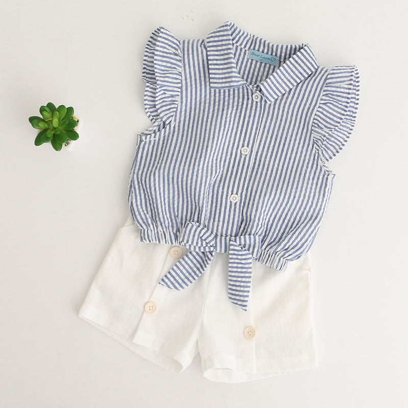Super Cool Stripe Top And Fashionable Button Decoration Shorts Sets - girls dress set - - Strawbie Collections