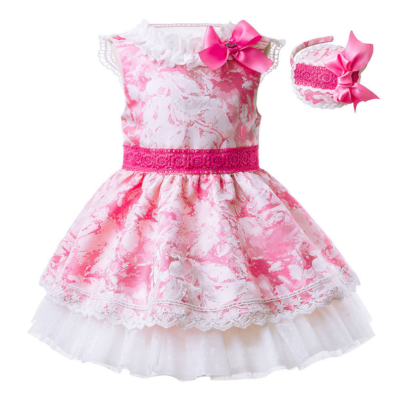 Pink And White Mosaic Pattern Dress With Lace Decoration Pink / 8 in Strawbie Collections - girls dress