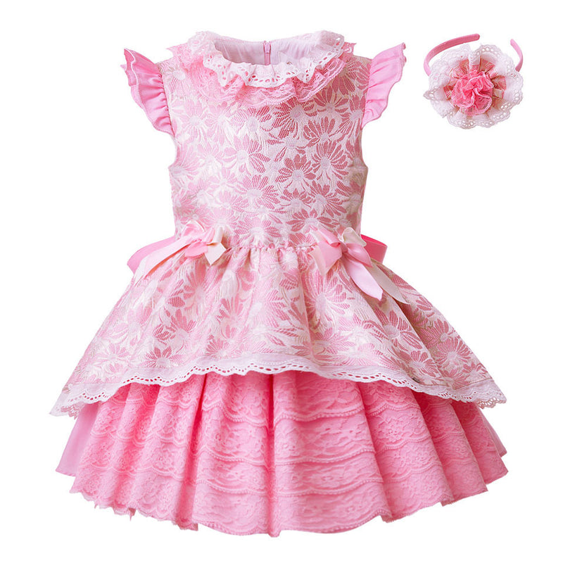 Pink Floral Layered Party Dress With Headband as picture / 8 in Strawbie Collections - girls dress