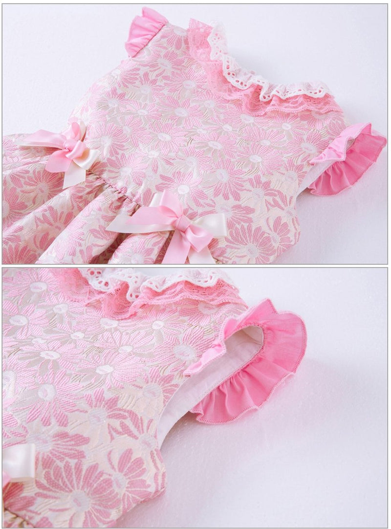 Pink Floral Layered Party Dress With Headband  in Strawbie Collections - girls dress