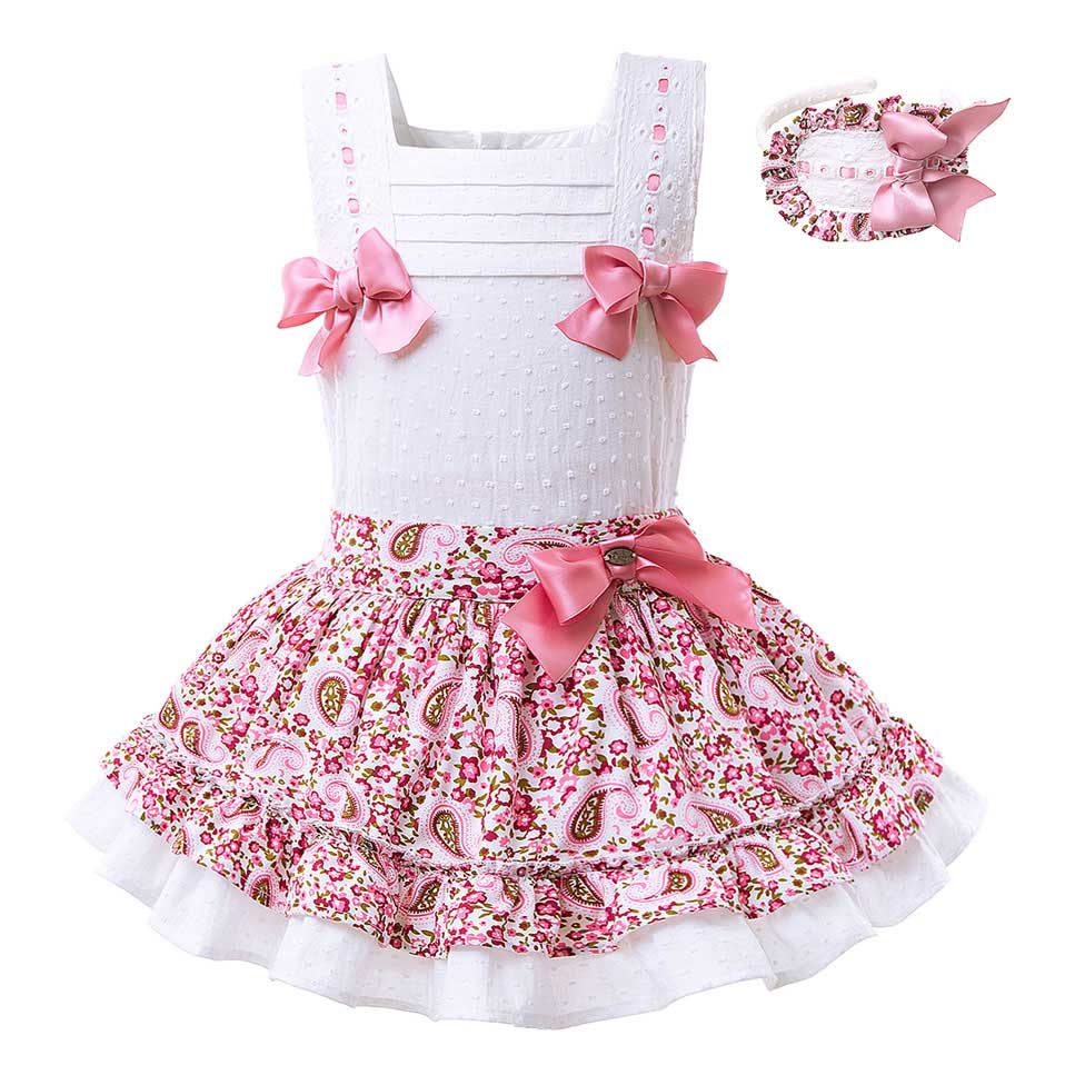 Sleeveless White Vest Set With A Floral Skirt With Lace Hem pink / 8 in Strawbie Collections - girls dress