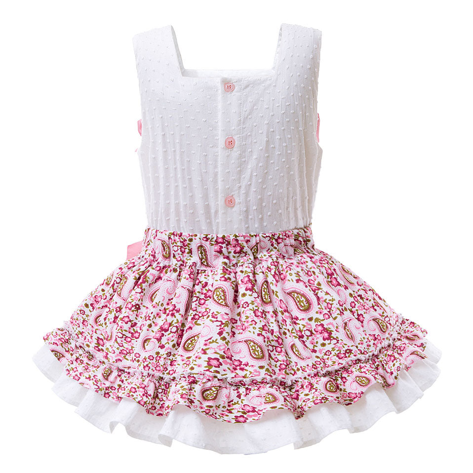 Sleeveless White Vest Set With A Floral Skirt With Lace Hem - girls dress - - Strawbie Collections