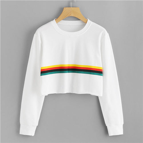 Casual Sweatshirt With Coloured Stripes - SweatShirts - White / XS - Strawbie Collections
