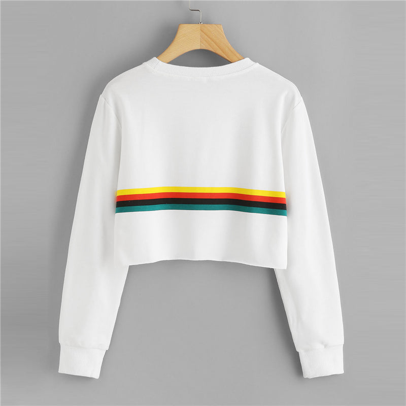 Casual Sweatshirt With Coloured Stripes - SweatShirts - - Strawbie Collections