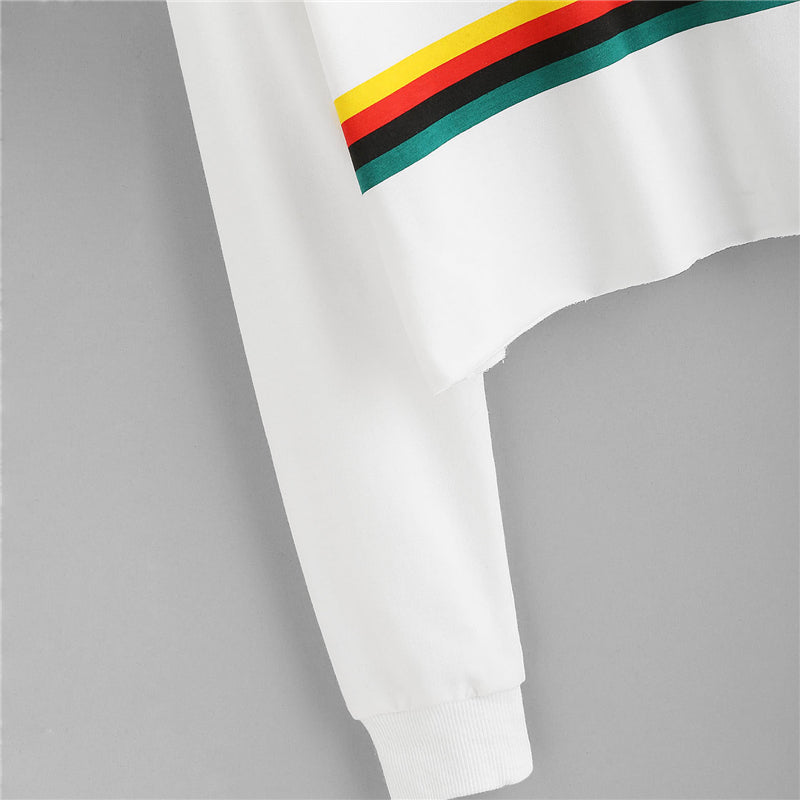 Casual Sweatshirt With Coloured Stripes  in Strawbie Collections - SweatShirts