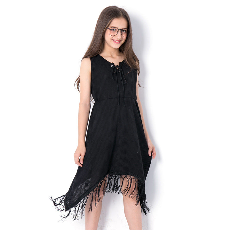 Fashionable Black Tassel Sleeveless Dress black / 14 in Strawbie Collections - girls dress