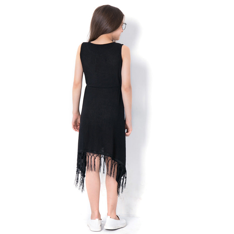 Fashionable Black Tassel Sleeveless Dress  in Strawbie Collections - girls dress