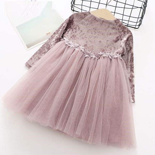 Party Princess Dress in  Velvet And Mesh Patchwork Pink / 8 in Strawbie Collections - girls dress