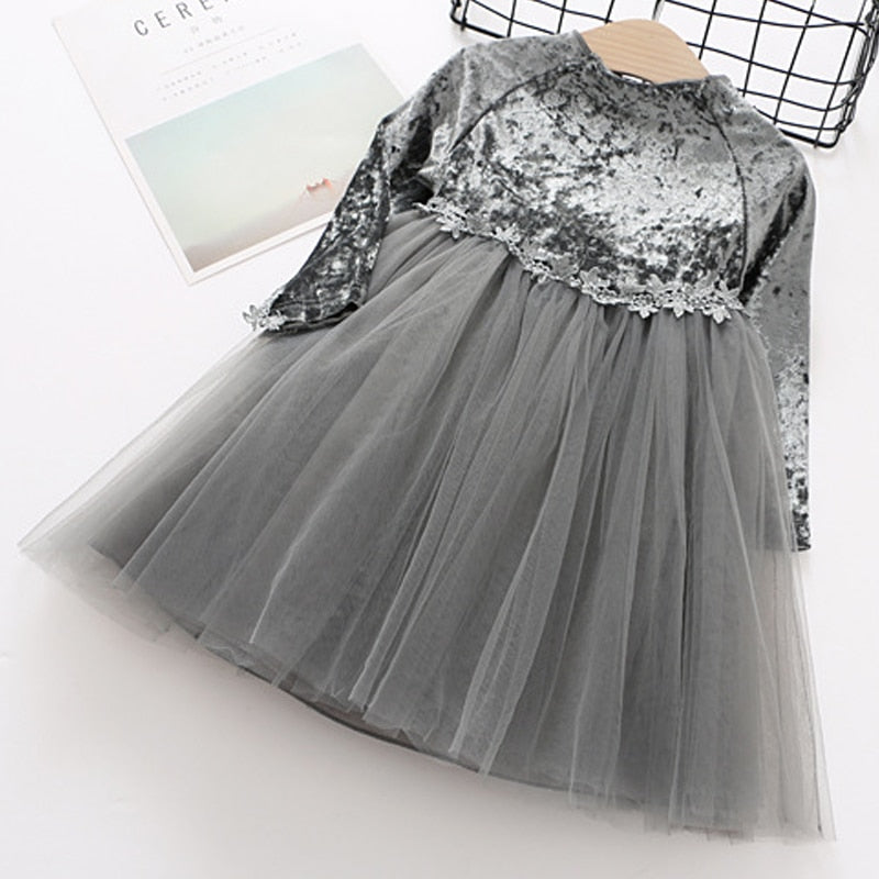 Party Princess Dress in  Velvet And Mesh Patchwork Gray / 8 in Strawbie Collections - girls dress