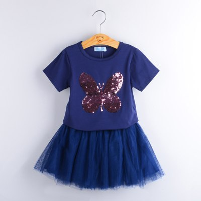 Sequin Decorated Tee Tops With Beautiful Tutu Skirt Sets Blue / 6 in Strawbie Collections - girls dress set