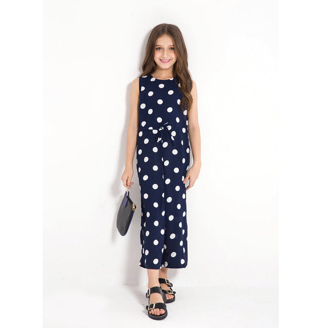 Sleeveless Dot Print Jumpsuits Beige / 14 in Strawbie Collections - girls overalls