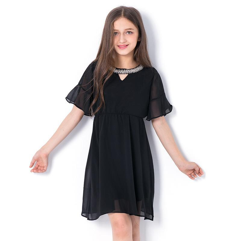 Fashion Sequined Elegant Girls Black Chiffon Dress Black / 14 in Strawbie Collections - girls dress