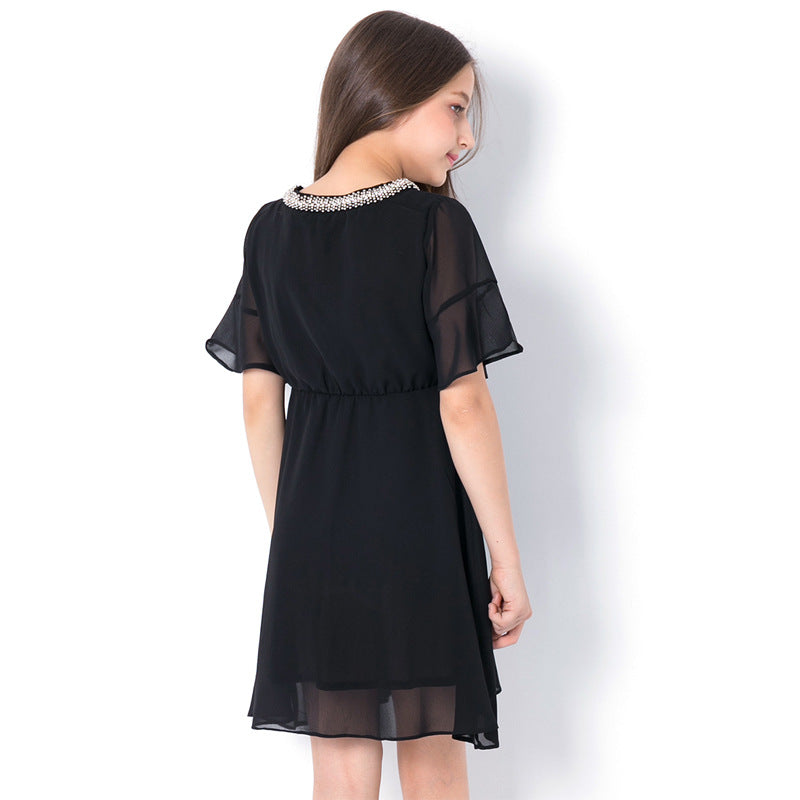Fashion Sequined Elegant Girls Black Chiffon Dress  in Strawbie Collections - girls dress
