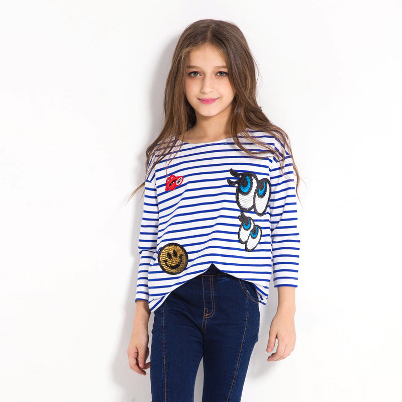Long Sleeve Striped T Shirts With Sequined Design - Girls Tops - - Strawbie Collections