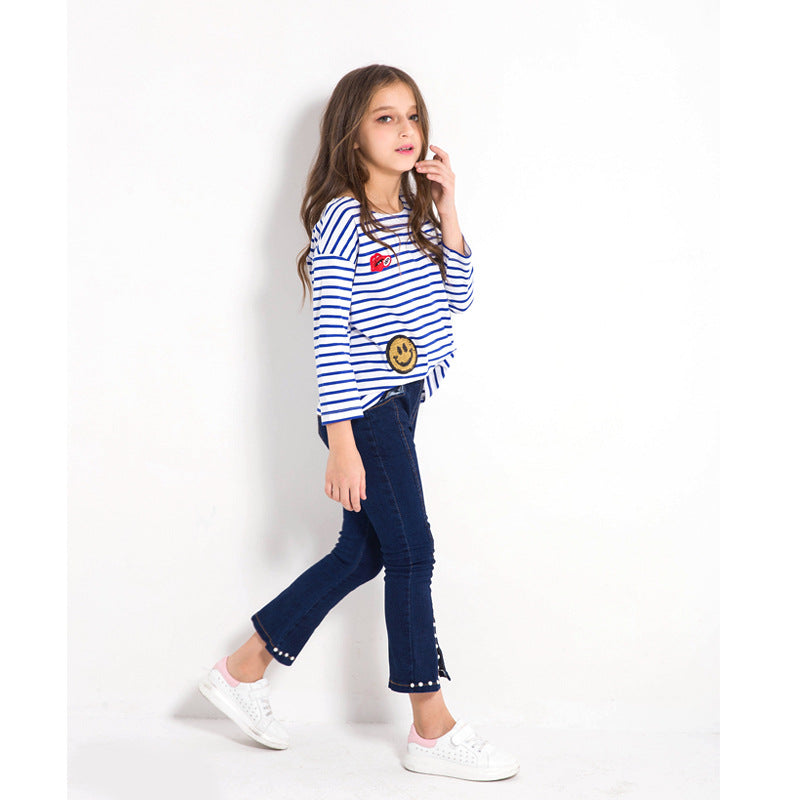 Long Sleeve Striped T Shirts With Sequined Design  in Strawbie Collections - Girls Tops