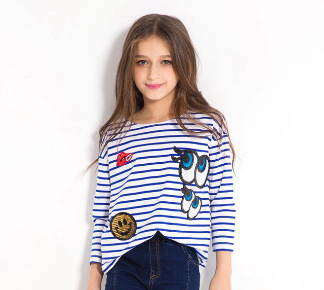 Long Sleeve Striped T Shirts With Sequined Design Blue / 14 in Strawbie Collections - Girls Tops