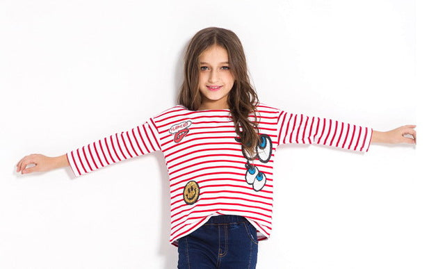 Long Sleeve Striped T Shirts With Sequined Design Red / 14 in Strawbie Collections - Girls Tops