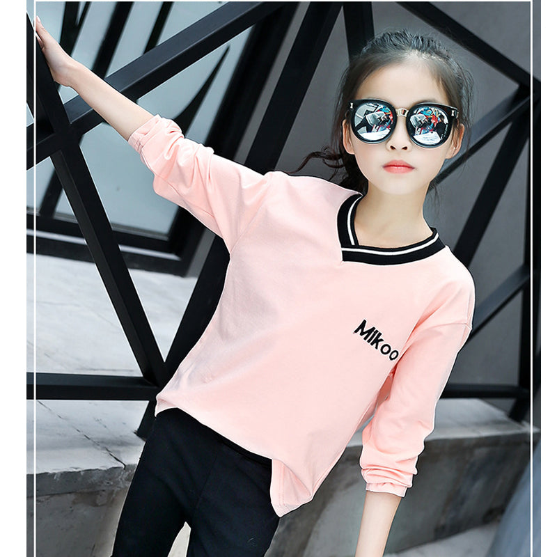 Pink Color V-Neck Long Sleeve Tee Top - Girls Tops - - Strawbie Collections