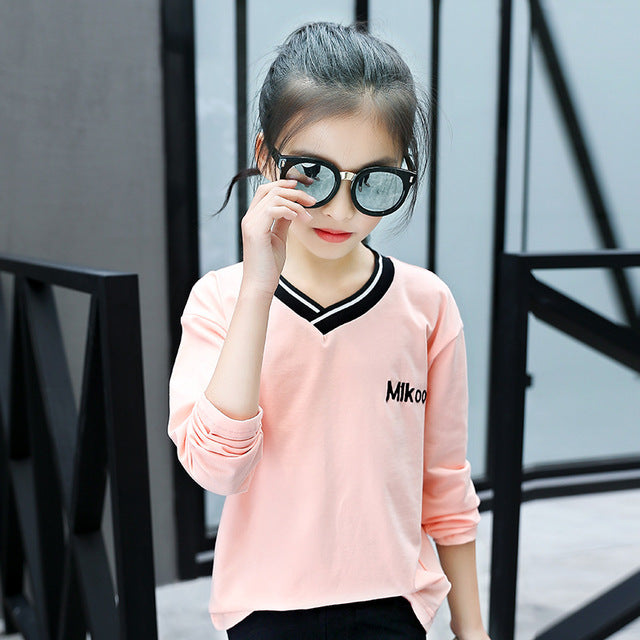 Pink Color V-Neck Long Sleeve Tee Top see chart / 14 in Strawbie Collections - Girls Tops