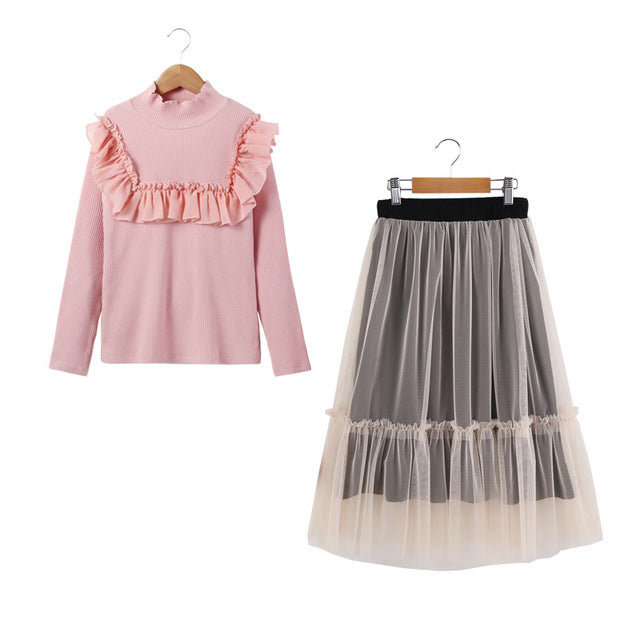 Turtle Neck T-Shirt And Mesh Skirt Sets Beige / 14 in Strawbie Collections - girls skirt and top sets