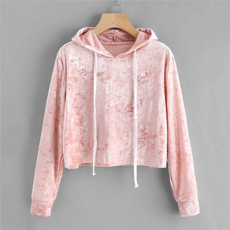 Fashionable Velvet Pullover Hoodie With Long Sleeves Pink / XL in Strawbie Collections - Girls Tops