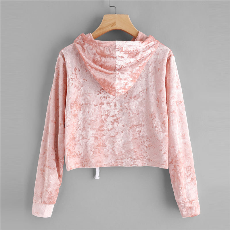 Fashionable Velvet Pullover Hoodie With Long Sleeves  in Strawbie Collections - Girls Tops