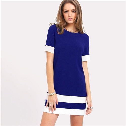 Beautiful Color Block Mini Dress Blue / L in Strawbie Collections - girls dress
