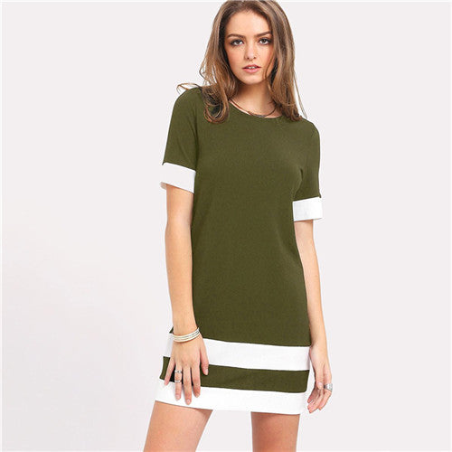 Beautiful Color Block Mini Dress Army Green / L in Strawbie Collections - girls dress