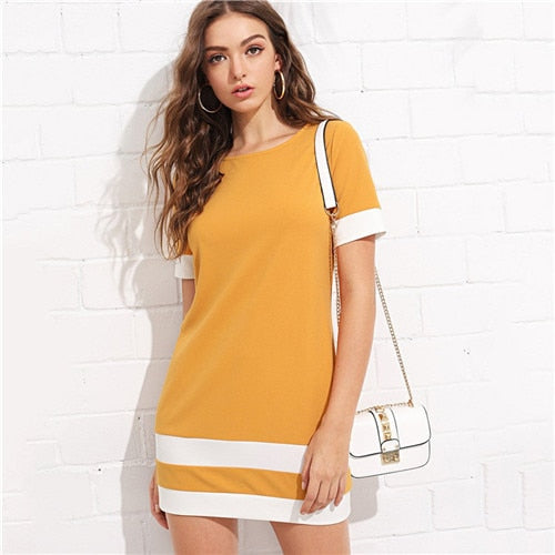 Beautiful Color Block Mini Dress Orange / L in Strawbie Collections - girls dress