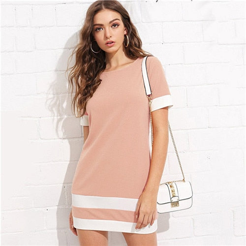 Beautiful Color Block Mini Dress Pink / L in Strawbie Collections - girls dress