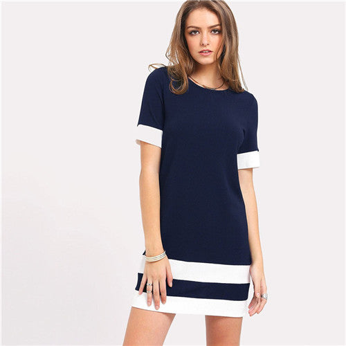 Beautiful Color Block Mini Dress Navy Blue / L in Strawbie Collections - girls dress